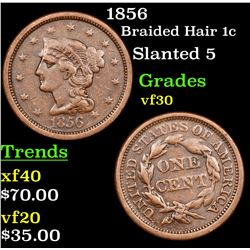 1856 Braided Hair Large Cent 1c Grades vf++
