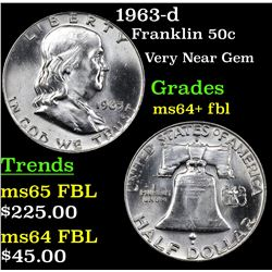 1963-d Franklin Half Dollar 50c Grades Choice Unc+ FBL