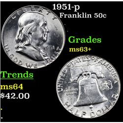 1951-p Franklin Half Dollar 50c Grades Select+ Unc