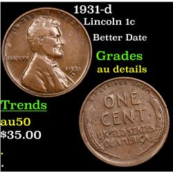 1931-d Lincoln Cent 1c Grades AU Details