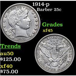 1914-p Barber Quarter 25c Grades xf+