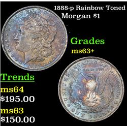 1888-p Rainbow Toned Morgan Dollar $1 Grades Select+ Unc