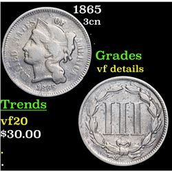 1865 Three Cent Copper Nickel 3cn Grades vf details