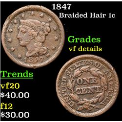 1847 Braided Hair Large Cent 1c Grades vf details