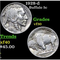 1928-d Buffalo Nickel 5c Grades vf++