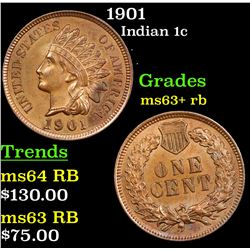 1901 Indian Cent 1c Grades Select+ Unc RB