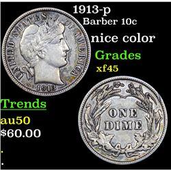1913-p Barber Dime 10c Grades xf+