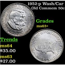 1952-p Wash/Car Old Commem Half Dollar 50c Grades Select+ Unc