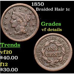 1850 Braided Hair Large Cent 1c Grades vf details