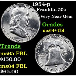 1954-p Franklin Half Dollar 50c Grades Choice Unc+ FBL