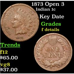 1873 Open 3 Indian Cent 1c Grades f details