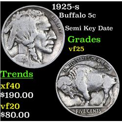 1925-s Buffalo Nickel 5c Grades vf+