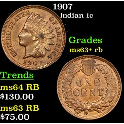 1907 Indian Cent 1c Grades Select+ Unc RB