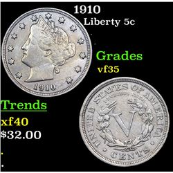 1910 Liberty Nickel 5c Grades vf++
