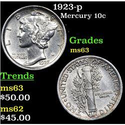 1923-p Mercury Dime 10c Grades Select Unc