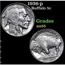 1936-p Buffalo Nickel 5c Grades Choice AU