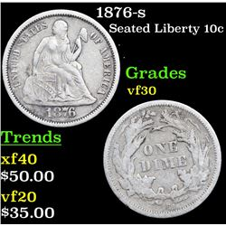 1876-s Seated Liberty Dime 10c Grades vf++