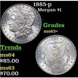 1885-p Morgan Dollar $1 Grades Select+ Unc
