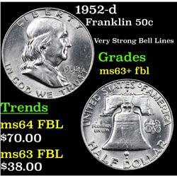 1952-d Franklin Half Dollar 50c Grades Select Unc+ FBL