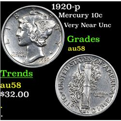 1920-p Mercury Dime 10c Grades Choice AU/BU Slider