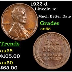 1922-d Lincoln Cent 1c Grades Choice AU