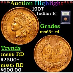 ***Auction Highlight*** 1907 Indian Cent 1c Graded Gem+ Unc RD By USCG (fc)