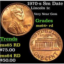 1970-s Sm Date Lincoln Cent 1c Grades Choice+ Unc RD