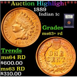***Auction Highlight*** 1889 Indian Cent 1c Graded Select+ Unc RD By USCG (fc)