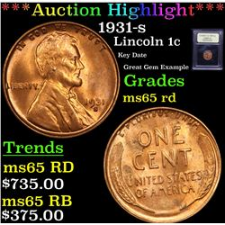 ***Auction Highlight*** 1931-s Lincoln Cent 1c Graded GEM Unc RD By USCG (fc)