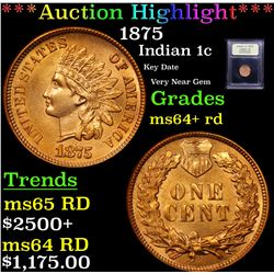 ***Auction Highlight*** 1875 Indian Cent 1c Graded Choice+ Unc RD By USCG (fc)