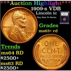 ***Auction Highlight*** 1909-s VDB Lincoln Cent 1c Graded Select+ Unc RD By USCG (fc)