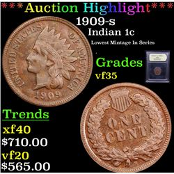 ***Auction Highlight*** 1909-s Indian Cent 1c Graded vf++ By USCG (fc)