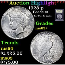 ***Auction Highlight*** 1928-p Peace Dollar $1 Graded Select+ Unc By USCG (fc)