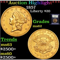***Auction Highlight*** 1857 Gold Liberty Double Eagle $20 Graded Select Unc By USCG (fc)