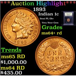***Auction Highlight*** 1893 Indian Cent 1c Graded Choice+ Unc RD By USCG (fc)