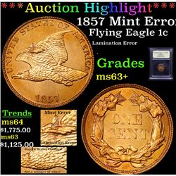 ***Auction Highlight*** 1857 Flying Eagle Cent 1c Graded Select+ Unc By USCG (fc)