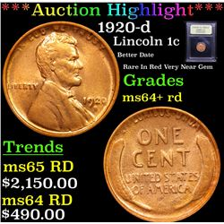 ***Auction Highlight*** 1920-d Lincoln Cent 1c Graded Choice+ Unc RD By USCG (fc)