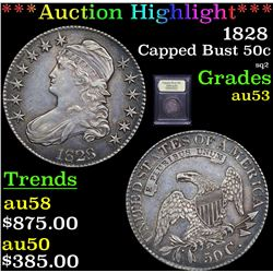 ***Auction Highlight*** 1828 Capped Bust Half Dollar 50c Graded Select AU By USCG (fc)