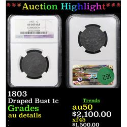 ***Auction Highlight*** NGC 1803 Draped Bust Large Cent 1c Graded au details By NGC (fc)