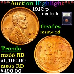 ***Auction Highlight*** 1912-p Lincoln Cent 1c Graded Gem+ Unc RD By USCG (fc)