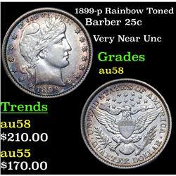 1899-p Rainbow Toned Barber Quarter 25c Grades Choice AU/BU Slider