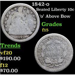 1842-o Seated Liberty Dime 10c Grades f+