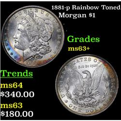 1881-p Rainbow Toned Morgan Dollar $1 Grades Select+ Unc