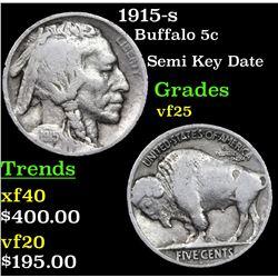 1915-s Buffalo Nickel 5c Grades vf+