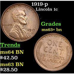 1919-p Lincoln Cent 1c Grades Select+ Unc BN