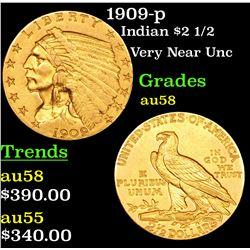1909-p Gold Indian Quarter Eagle $2 1/2 Grades Choice AU/BU Slider