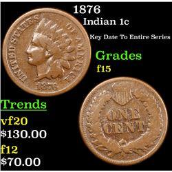 1876 Indian Cent 1c Grades f+