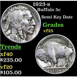 1923-s Buffalo Nickel 5c Grades vf+