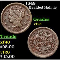 1849 Braided Hair Large Cent 1c Grades vf+