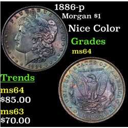 1886-p Morgan Dollar $1 Grades Choice Unc